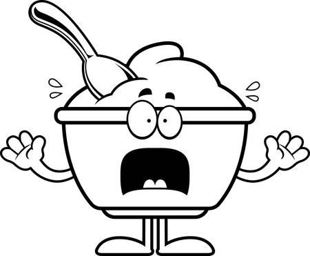 Un cartoon illustrazione di una tazza di yogurt cercando paura. Archivio Fotografico - 55001749