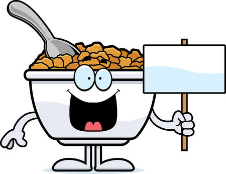 A cartoon illustration of a bowl of cereal holding a sign. Ilustracja