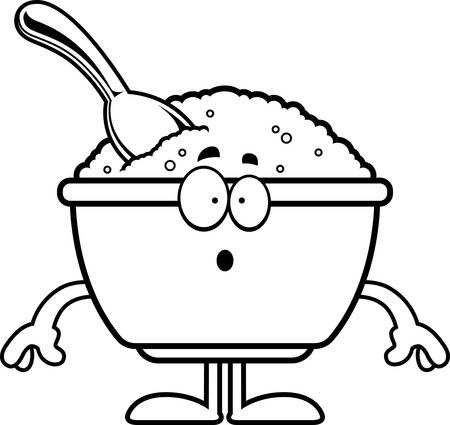A cartoon illustration of a bowl of oatmeal looking surprised.