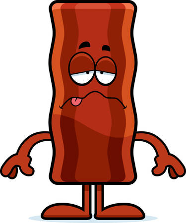 nauseous: A cartoon illustration of a bacon strip looking sick.