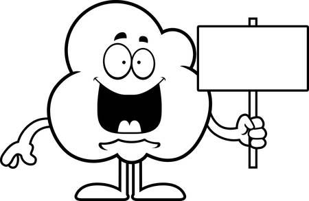 popcorn kernel: A cartoon illustration of a popcorn kernel holding a sign. Illustration