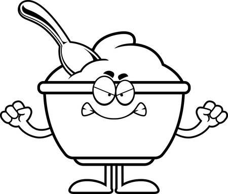 Un cartoon illustrazione di una tazza di yogurt cercando arrabbiato. Archivio Fotografico - 55001799