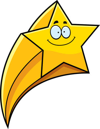 Een cartoon illustratie van een vallende ster lachend.