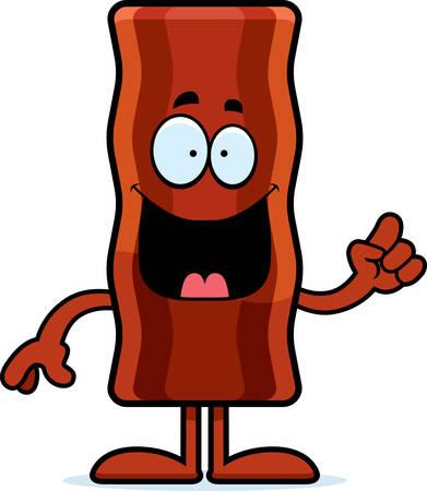 bacon art: A cartoon illustration of a bacon strip with an idea. Illustration