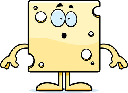 swiss cheese: A cartoon illustration of a slice of Swiss cheese looking surprised. Illustration
