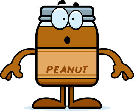 A cartoon illustration of a peanut butter jar looking surprised.