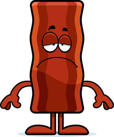 bacon art: A cartoon illustration of a bacon strip looking sad.