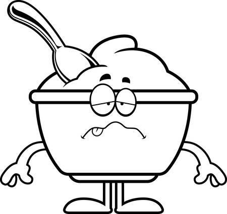 Un ejemplo de la historieta de una taza de yogur buscando enfermos. Foto de archivo - 55001998