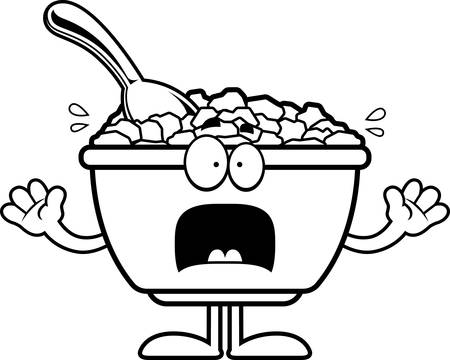 A cartoon illustration of a bowl of cereal looking scared.