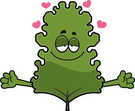 kale: A cartoon illustration of a kale leaf ready to give a hug.