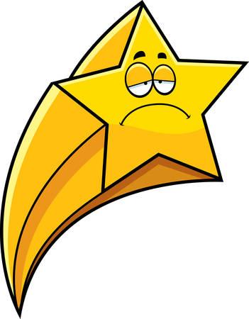 A cartoon illustration of a shooting star looking sad. Ilustração