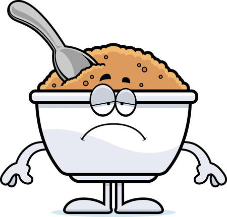 A cartoon illustration of a bowl of oatmeal looking sad. Ilustracja