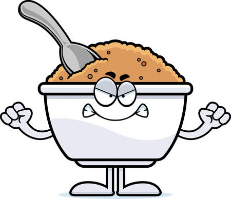 A cartoon illustration of a bowl of oatmeal looking angry.
