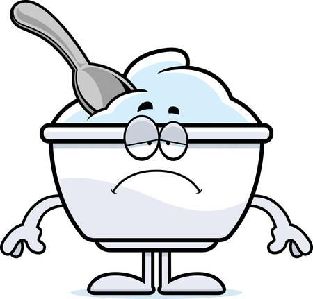 Un ejemplo de la historieta de una taza de yogur con cara de tristeza. Foto de archivo - 55002377