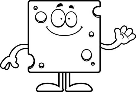 swiss cheese: A cartoon illustration of a slice of Swiss cheese waving. Illustration