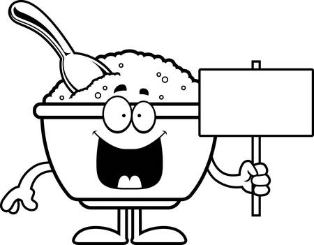 A cartoon illustration of a bowl of oatmeal holding a sign.