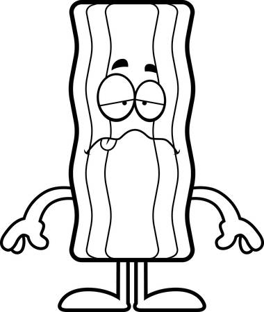 A cartoon illustration of a bacon strip looking sick.