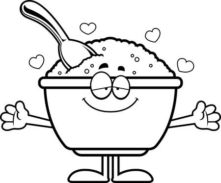bowl of cereal: A cartoon illustration of a bowl of oatmeal ready to give a hug.