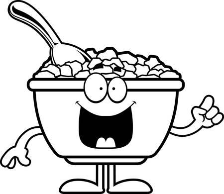 Une illustration de bande dessinée d'un bol de céréales avec une idée. Banque d'images - 55002387