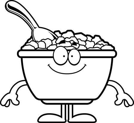 Une illustration de bande dessinée d'un bol de céréales air heureux. Banque d'images - 55004611