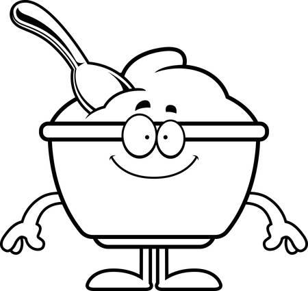 Un ejemplo de la historieta de una taza de yogur con una mirada feliz. Foto de archivo - 55004621