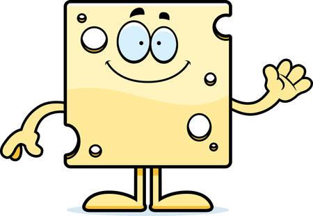 A cartoon illustration of a slice of Swiss cheese waving. Ilustração