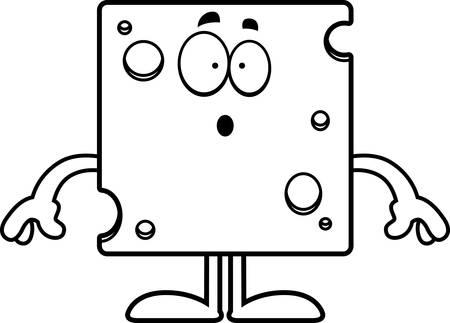 A cartoon illustration of a slice of Swiss cheese looking surprised. Ilustração
