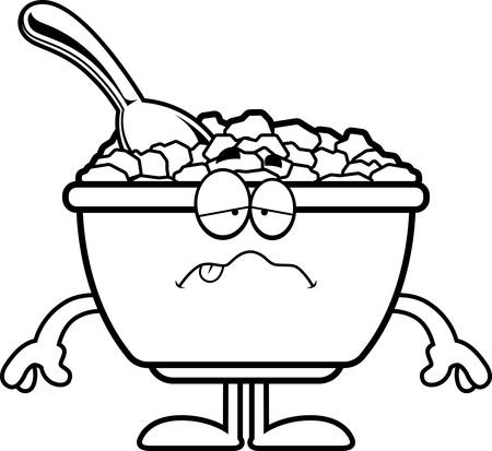 cereal bowl: A cartoon illustration of a bowl of cereal looking sick. Illustration