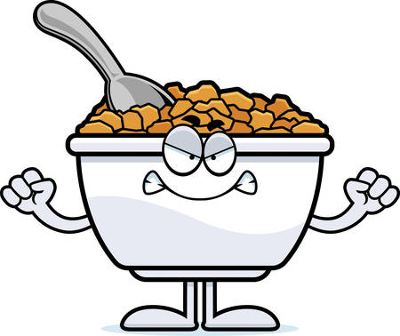 cereal bowl: A cartoon illustration of a bowl of cereal looking angry.