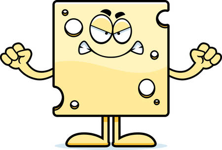 swiss cheese: A cartoon illustration of a slice of Swiss cheese looking angry.