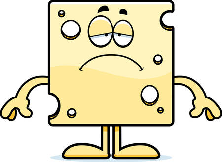 swiss cheese: A cartoon illustration of a slice of Swiss cheese looking sad.