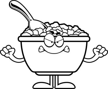Une illustration de bande dessinée d'un bol de céréales à la recherche en colère. Banque d'images - 55004694