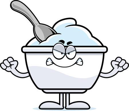 Un ejemplo de la historieta de una taza de yogur con enojo. Foto de archivo - 55004696