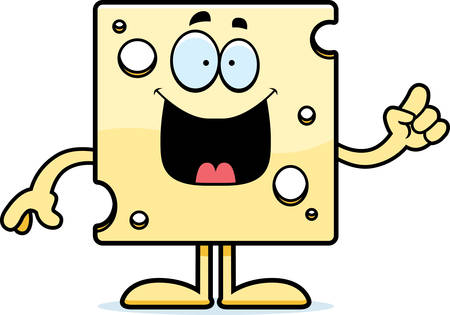 A cartoon illustration of a slice of Swiss cheese with an idea.