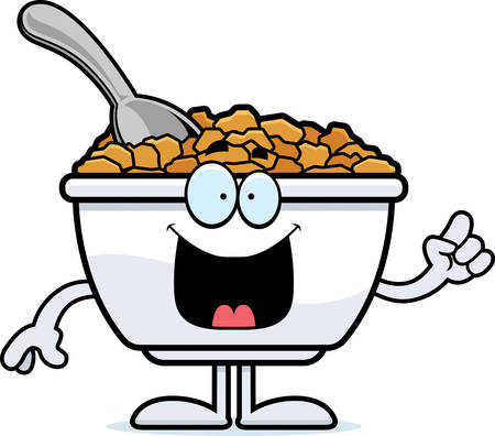 A cartoon illustration of a bowl of cereal with an idea. Ilustracja