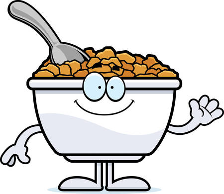A cartoon illustration of a bowl of cereal waving.