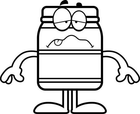 A cartoon illustration of a jar looking sick.
