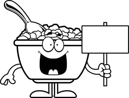 bowl of cereal: A cartoon illustration of a bowl of cereal holding a sign. Illustration