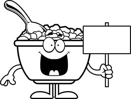 Une illustration de bande dessinée d'un bol de céréales tenant un signe. Banque d'images - 55004739