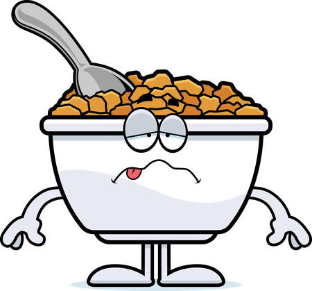 A cartoon illustration of a bowl of cereal looking sick. Illustration