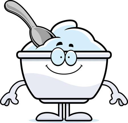 Un ejemplo de la historieta de una taza de yogur con una mirada feliz. Foto de archivo - 55004745