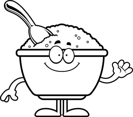 A cartoon illustration of a bowl of oatmeal waving. Ilustracja