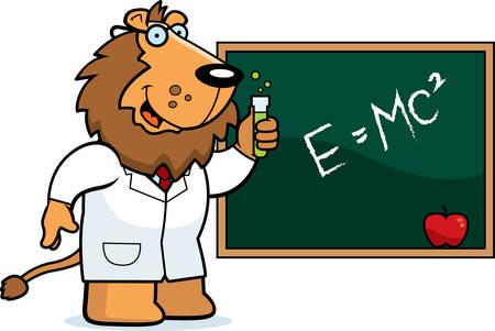 A cartoon illustration of a lion scientist.