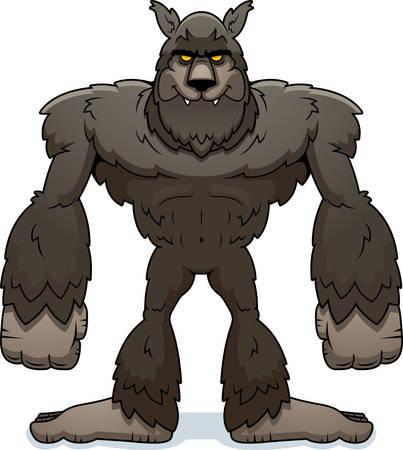 A cartoon illustration of a werewolf standing.