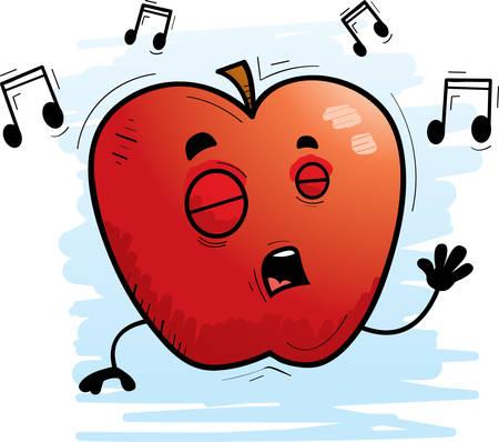 A cartoon illustration of an apple singing. Çizim