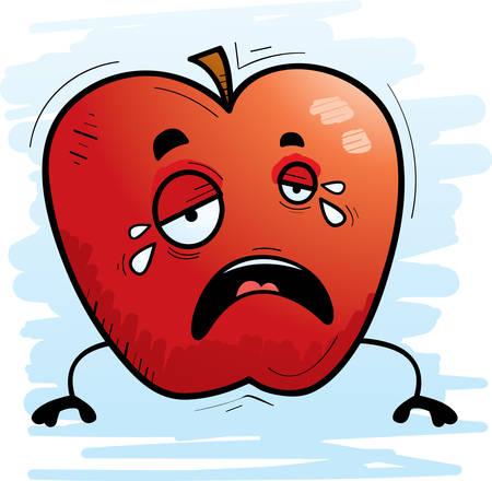 A cartoon illustration of an apple crying. Ilustração
