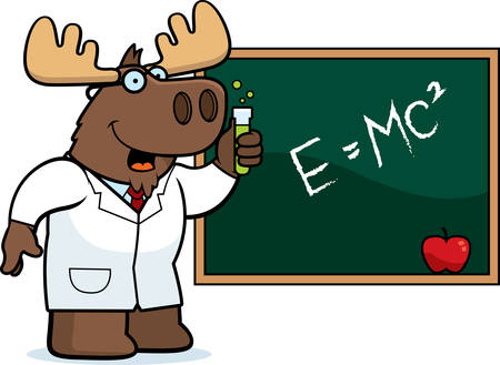 A cartoon illustration of a moose scientist.