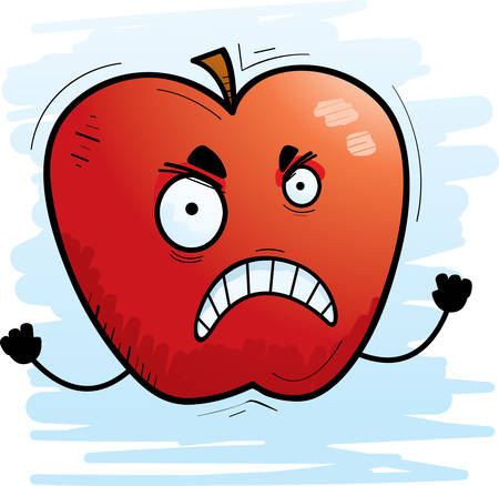 A cartoon illustration of an apple looking angry.
