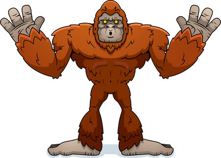 A cartoon illustration of a sasquatch surrendering with hands up. Illustration