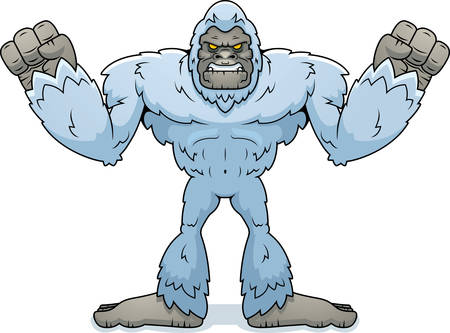 A cartoon illustration of a yeti looking angry. Illustration